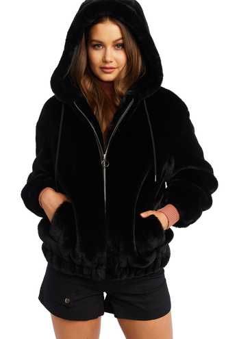 GIGI ZIP FUR JACKET in colour CAVIAR