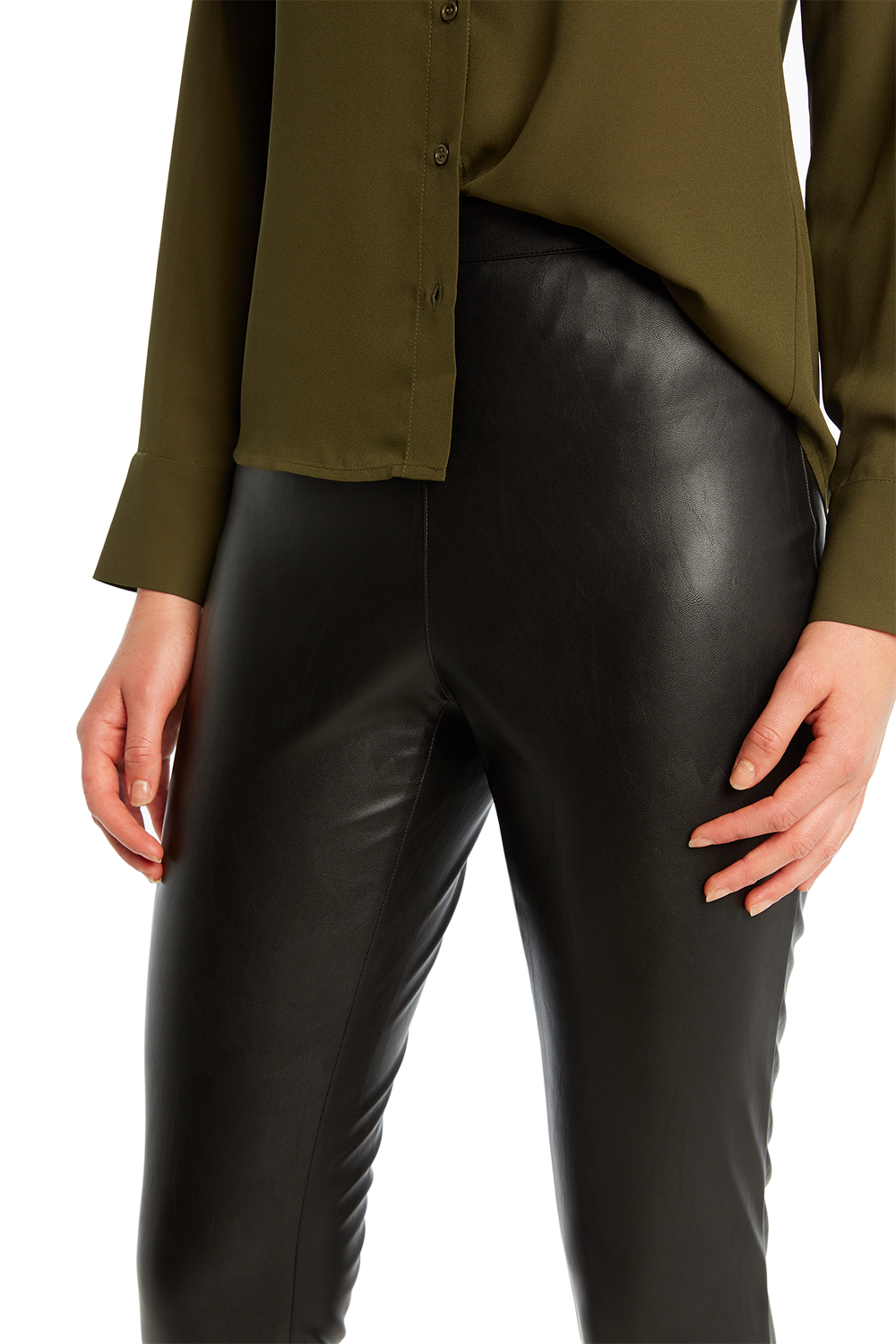 SKINNY VEGAN LEATHER PANT in colour CAVIAR