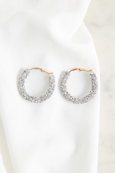 TWIST CRYSTAL HOOP EARRINGS in colour MAUVE CHALK