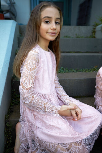 GERTRUDE LACE DRESS in colour POTPOURRI