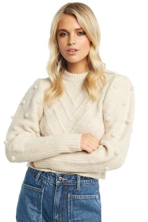 POM POM SLEEVE KNIT in colour SHELL