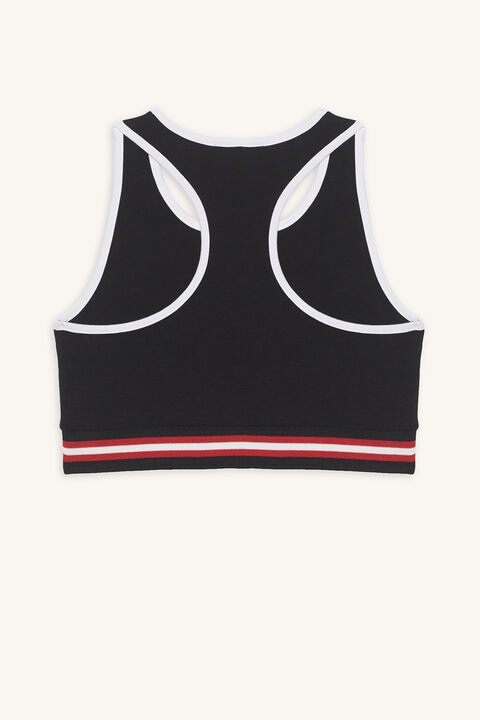 SQUAD SPORTS CROP in colour JET BLACK