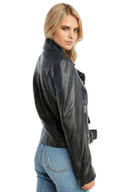 KIRA LEATHER BIKER JACKET in colour CAVIAR
