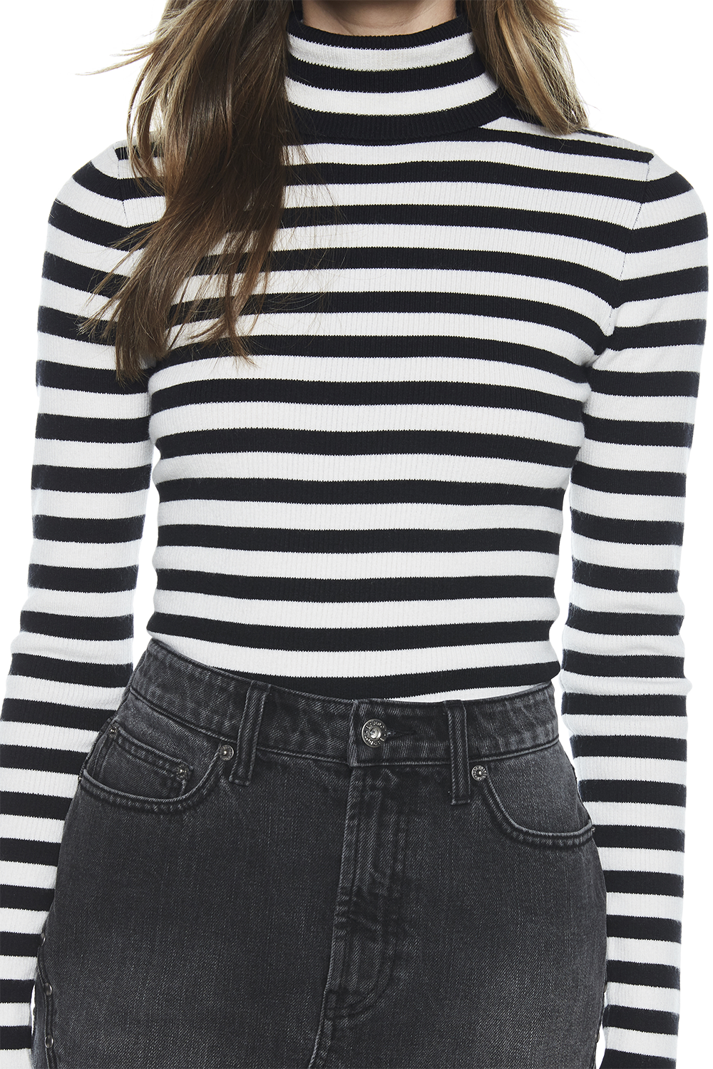 STRIPE SKIVVY KNIT in colour CAVIAR