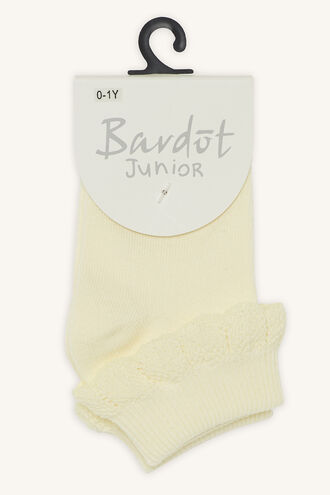 COTTON FRILL SOCKS in colour YELLOW CREAM