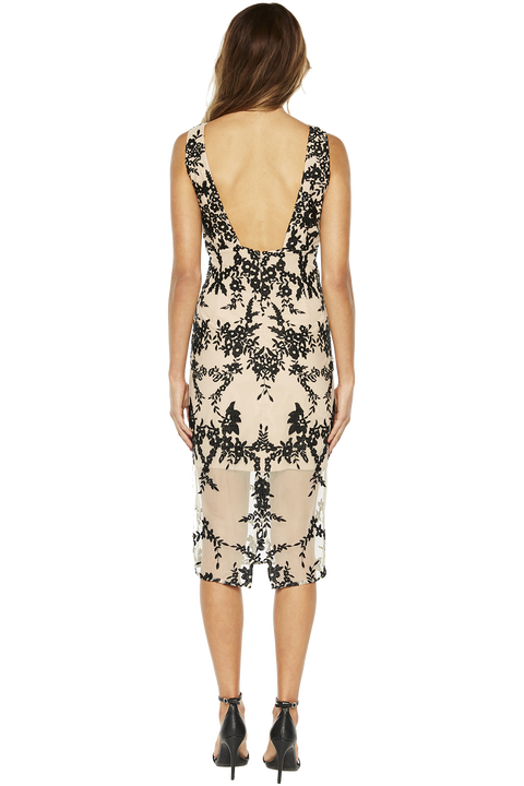 EMBROIDERY DRESS in colour CAVIAR