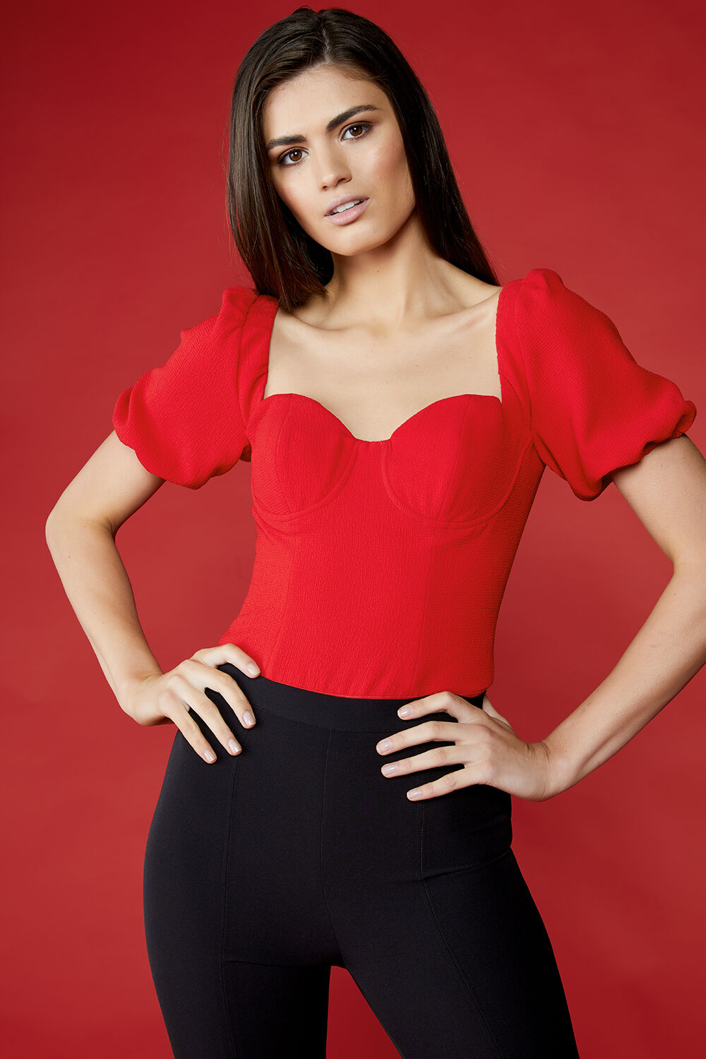 CARMEN BODYSUIT in colour TRUE RED
