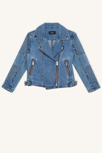 DENIM BIKER JKT in colour CITADEL