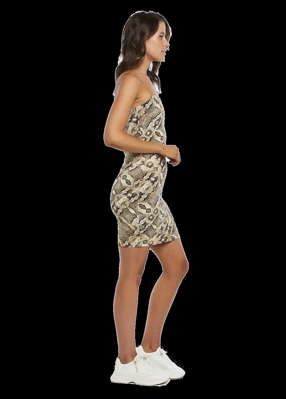 MINI SNAKE DRESS in colour EGRET