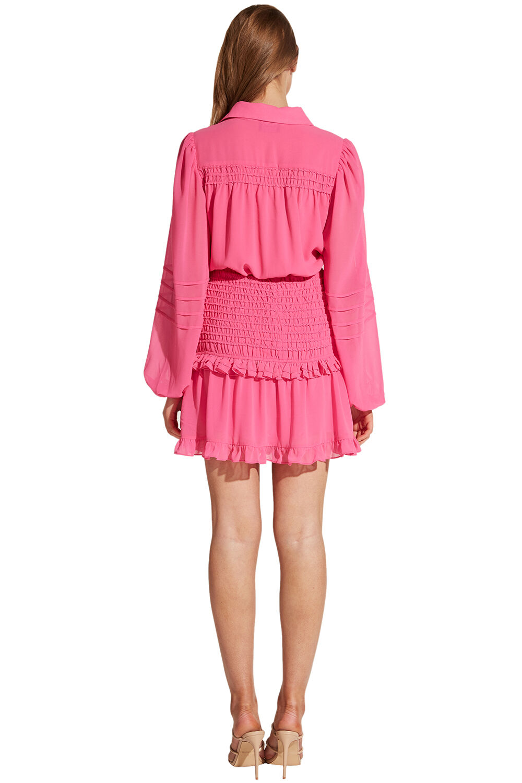 IRA SHIRRED DRESS in colour SHOCKING PINK