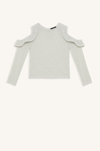 KNOX RUFFLE TOP in colour CLOUD DANCER