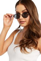 OVAL METAL SUNGLASSES in colour METEORITE