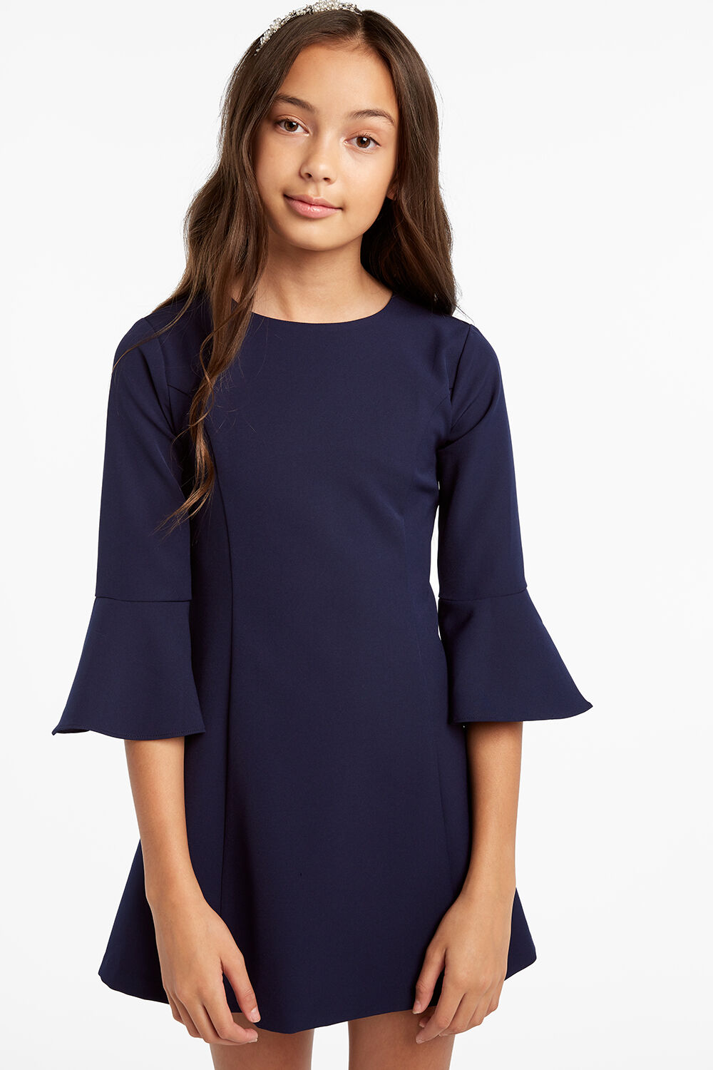 TWEEN GIRL JUNE PANEL DRESS in colour BLACK IRIS
