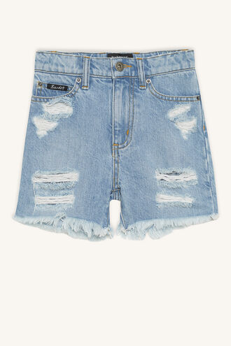 TRASHED DENIM SHORT in colour CITADEL