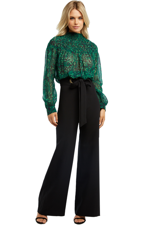 EYELET TIE PANT in colour CAVIAR