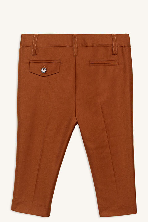 baby boy classic suit pant in colour CASHEW