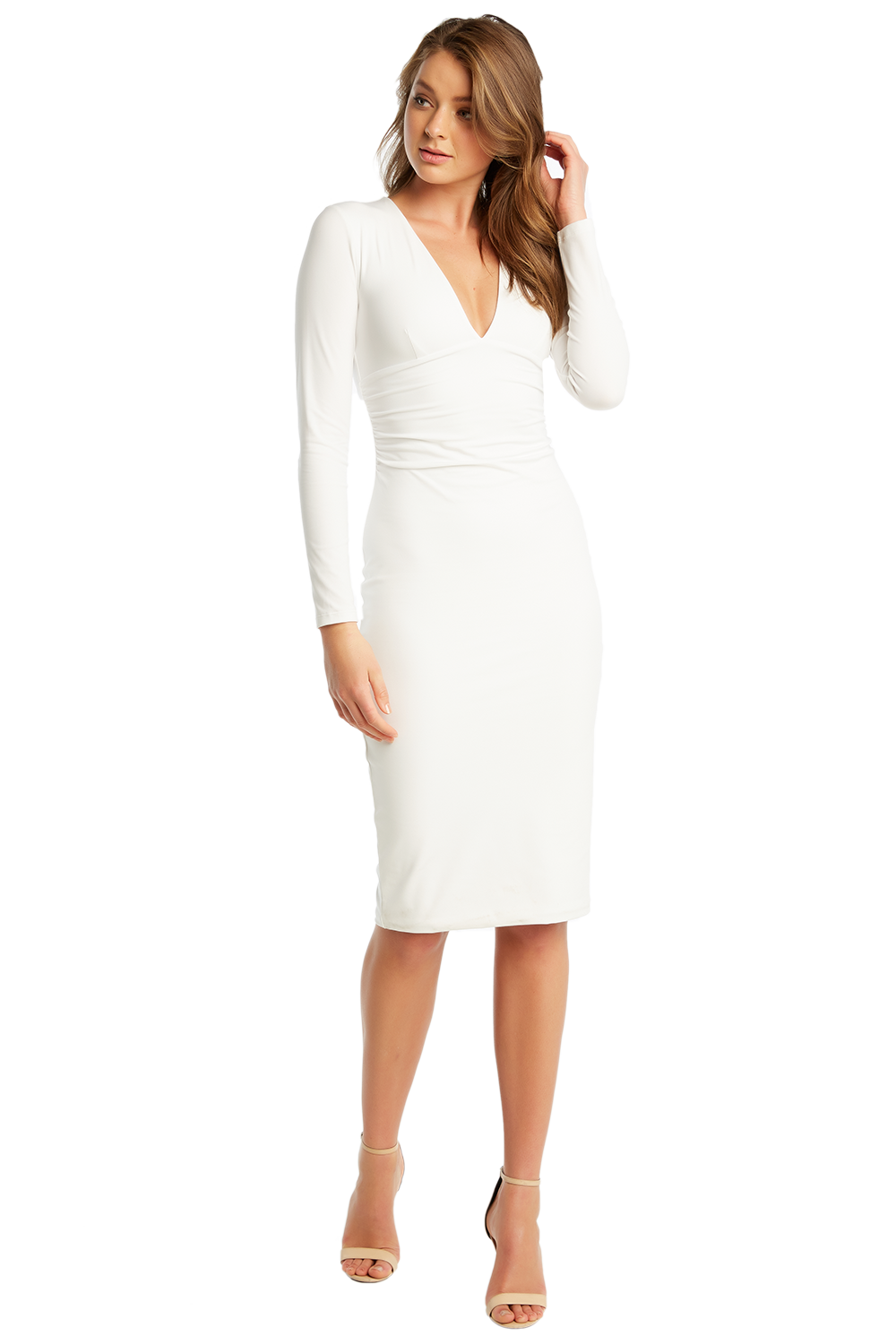 ALI LONG SLEEVE DRESS in colour BRIGHT WHITE