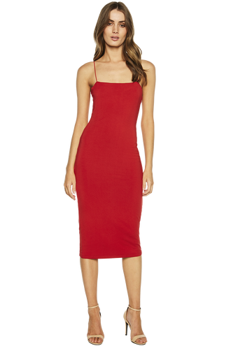SONIA DRESS in colour CRIMSON