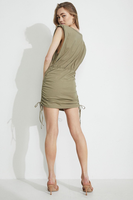 TONI SHOULDER PAD MINI DRESS in colour OLIVE NIGHT