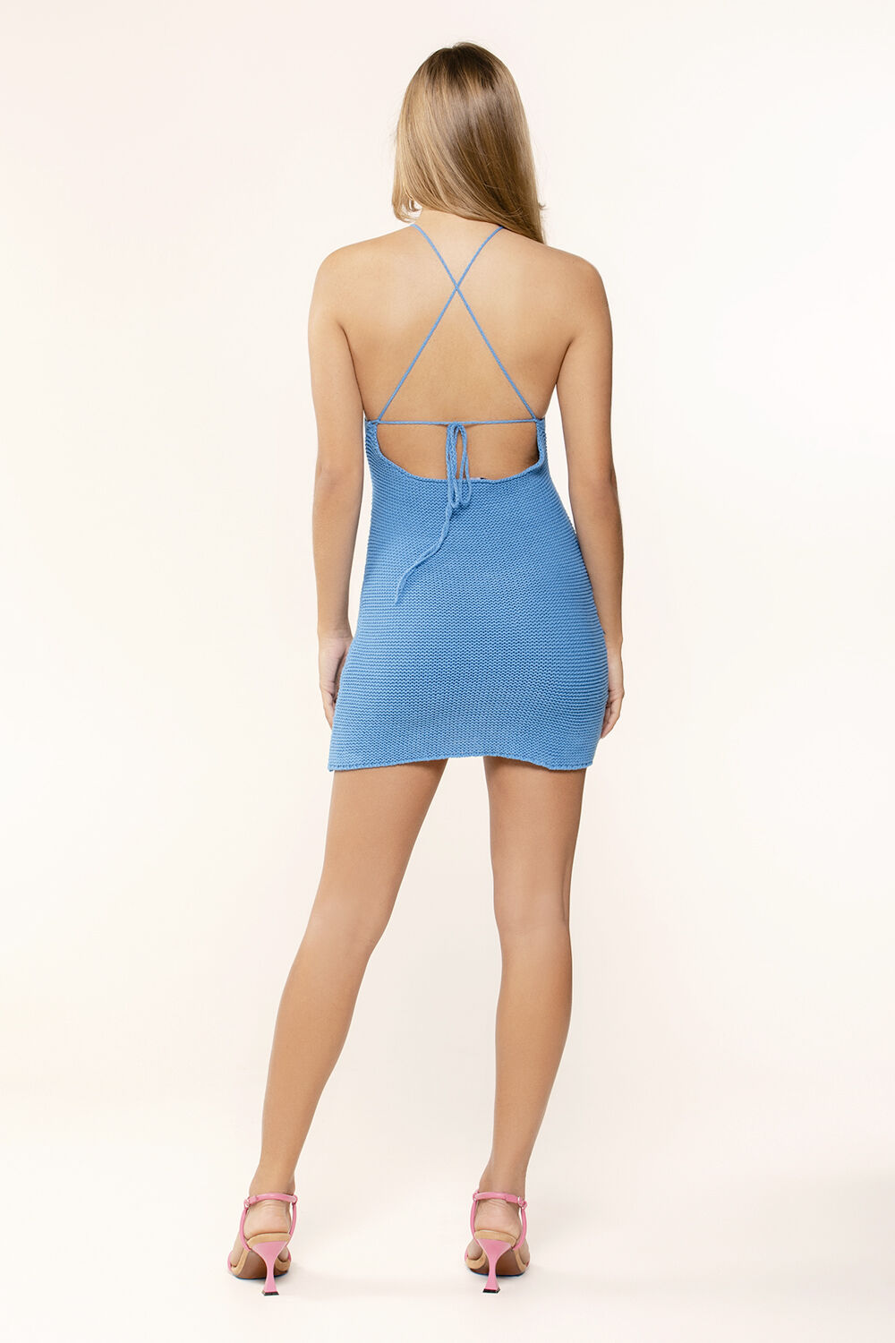 KNITTED HALTER DRESS in colour BRIGHT COBALT