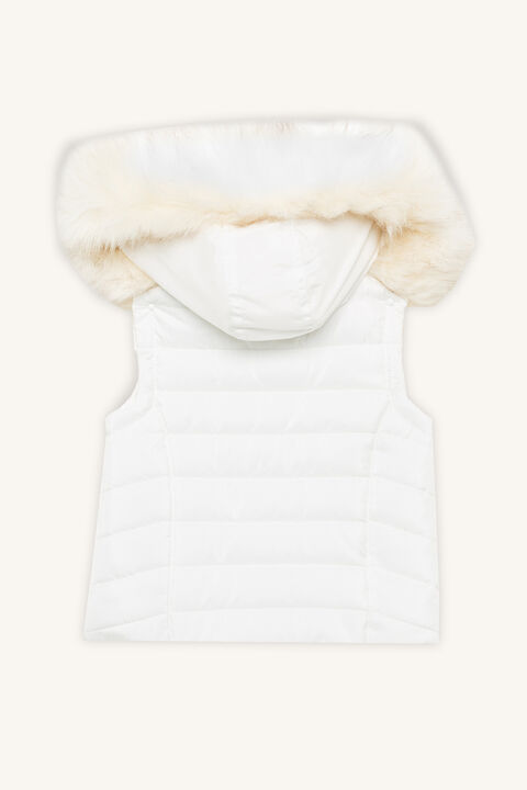 QUILTED FUR GILET in colour CLOUD DANCER