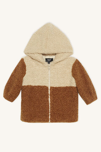 HOODED TEDDY FUR JKT in colour ALMOND