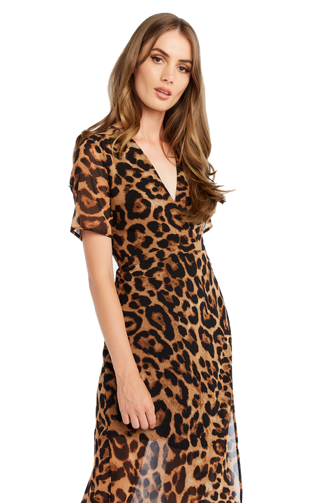 LEOPARD WRAP DRESS in colour DESERT MIST