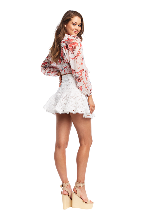EVAH FRILL SKIRT in colour CLOUD DANCER