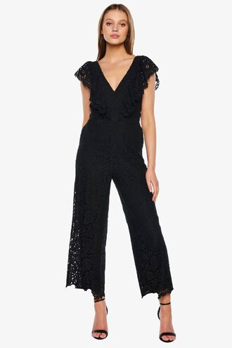 MALIA LACE JUMPSUIT in colour CAVIAR