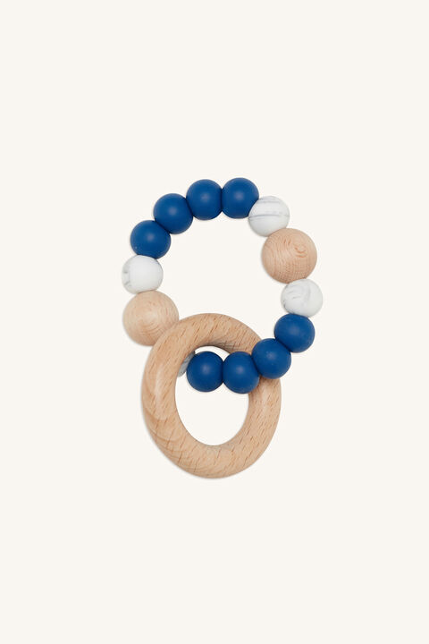 SINGLE RATTLE SILICONE & BEECHWOOD TEETHER in colour BLUE BELL