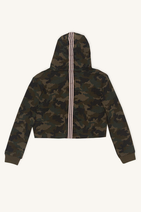 CAMO CROPPED HOODIE in colour BURNT OLIVE