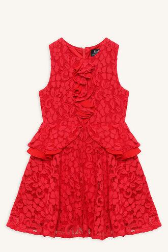 INGRID RUFFLE DRESS in colour LOLLIPOP