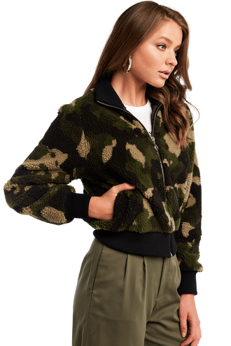 CROP CAMO FUR BOMBER in colour CAVIAR