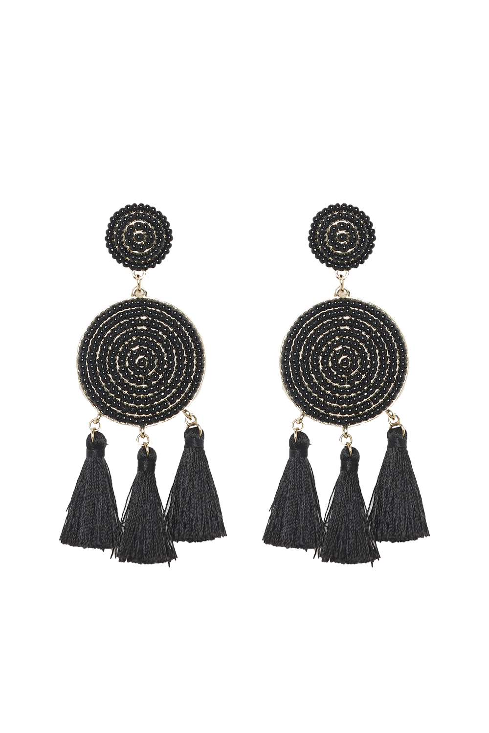 BEADED FRINGE EARRINGS in colour METEORITE