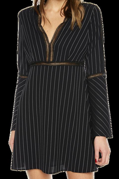 PINSTRIPE DRESS in colour CAVIAR