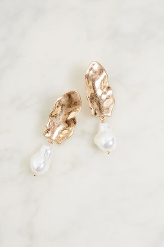 ABSTRACT DROP PEARL EARRING in colour GOLD EARTH