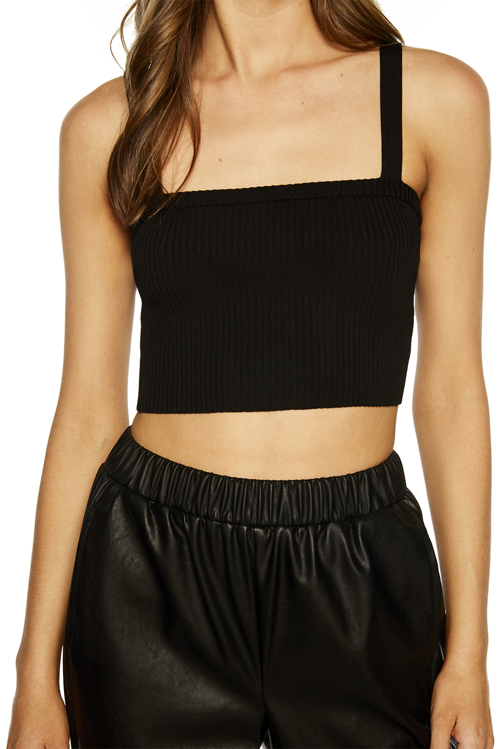 MILI CROP TANK TOP in colour CAVIAR
