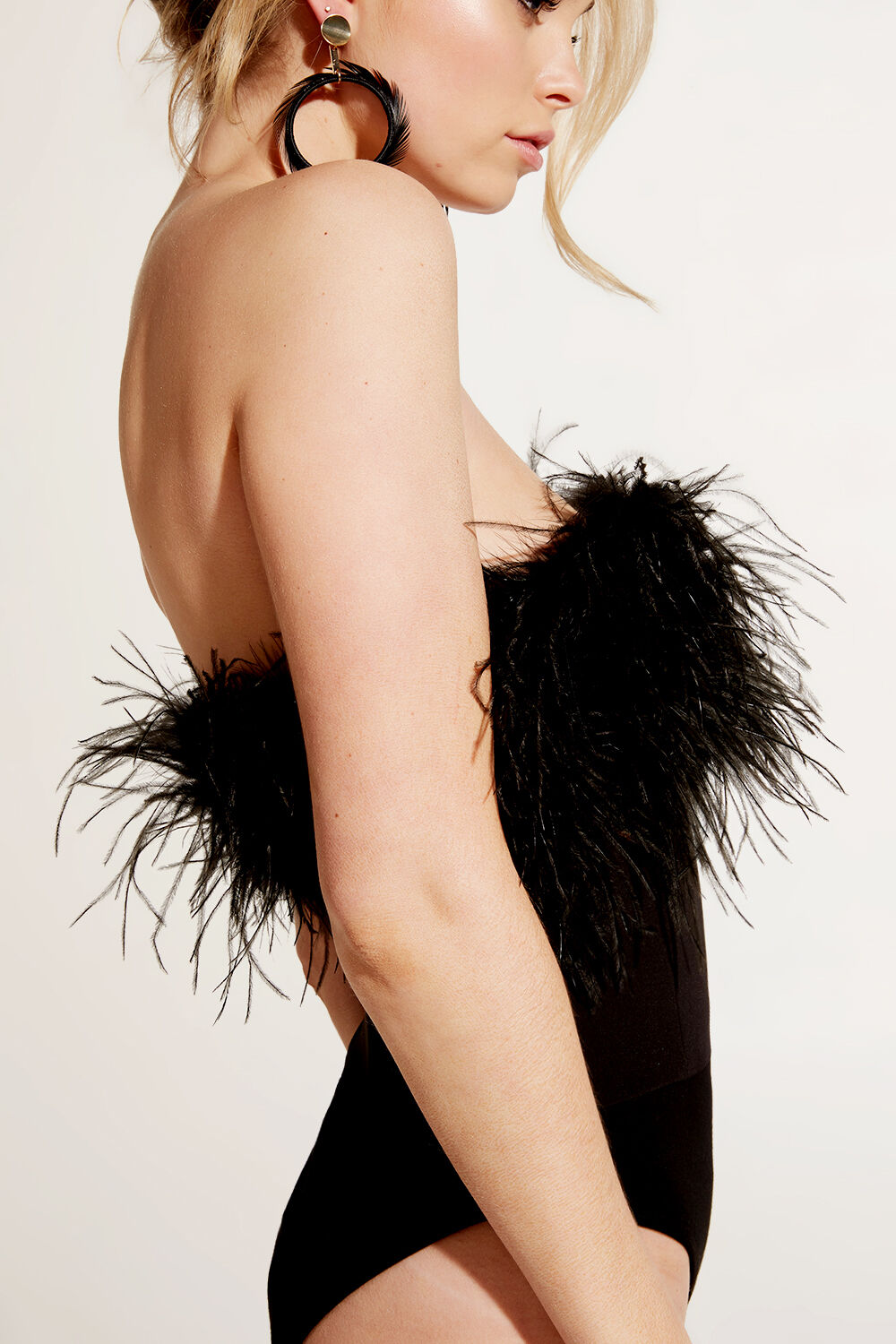 FEATHER BUSTIER BODYSUIT in colour CAVIAR
