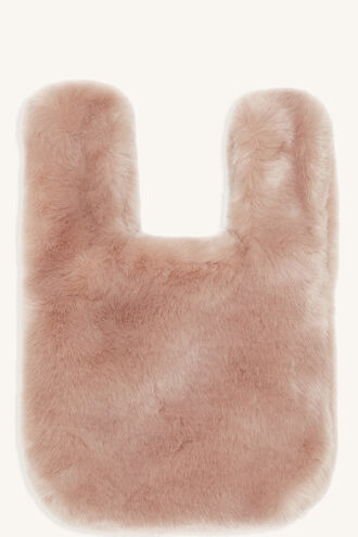 MINI FAUX FUR TOTE BAG in colour DUSTY PINK