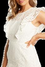 KIRA FRILL DRESS in colour CLOUD DANCER
