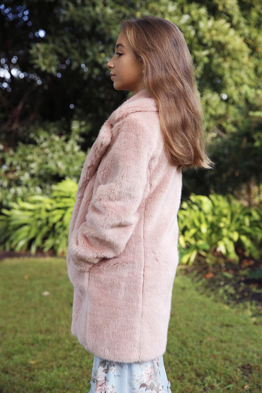 TWEEN GIRL FAUX FUR MIDI COAT in colour SHELL