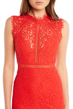 LACE PANEL DRESS in colour HIGH RISK RED