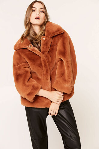 PIA FUR BOMBER in colour COPPER BROWN