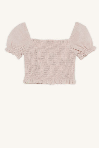 JOANIE PUFF SLEEVE TOP in colour MISTY ROSE