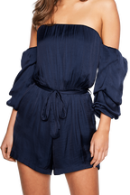 CAUGHT SLEEVE PLAYSUIT in colour SODALITE BLUE