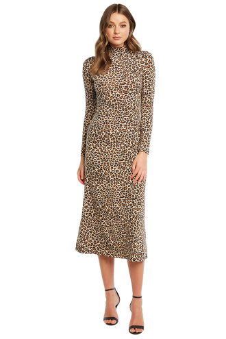 cec6fb2e204 LEOPARD MAXI DRESS in colour LATTE