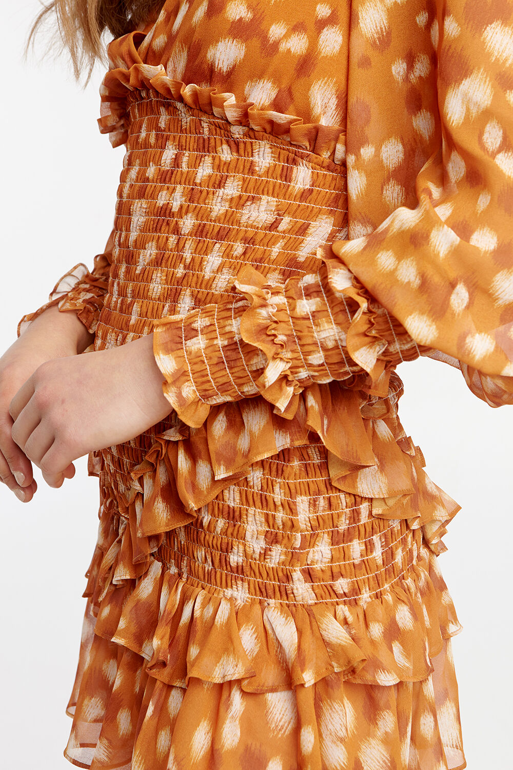 BAMBINA FRILL DRESS in colour GOLDEN OCHRE
