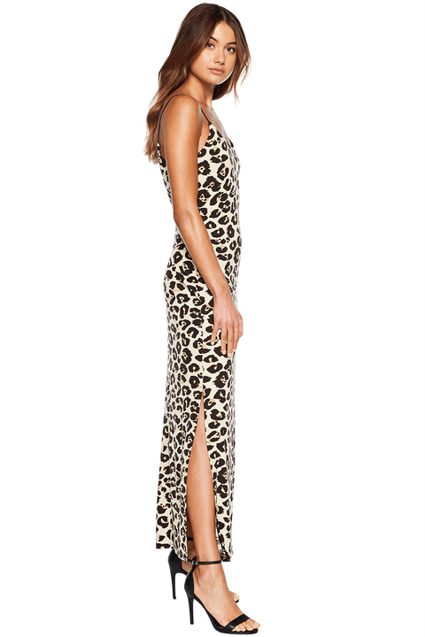 LEOPARD MAXI DRESS in colour JET BLACK