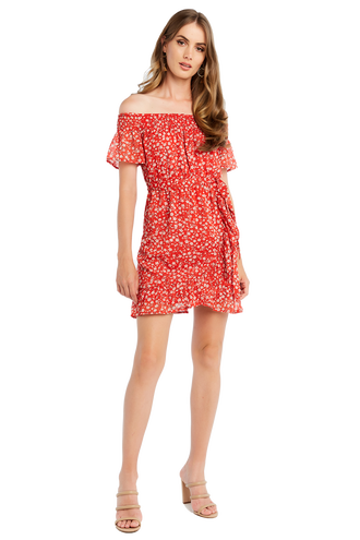 DISTY FLORAL DRESS in colour TOMATO PUREE