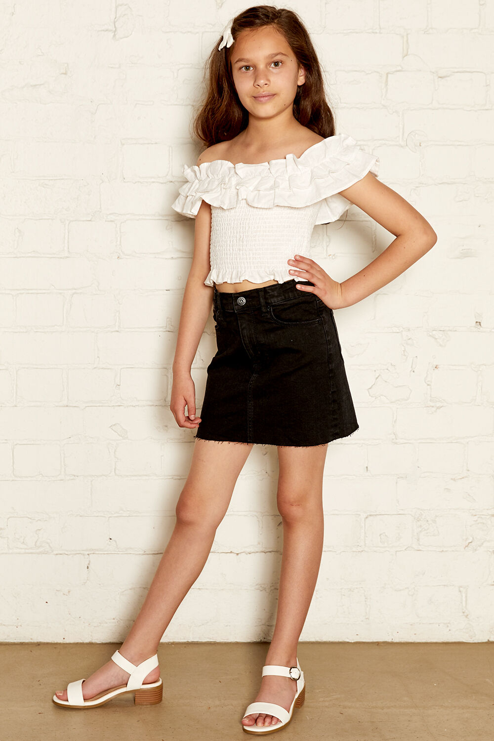 TRIXIE RUFFLE TOP in colour EGRET